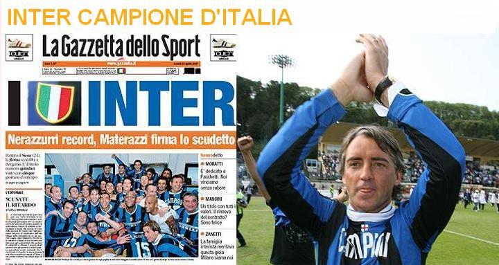 La Gazzetta dello Sport del 23 Aprile 2007: INTER CAMPIONE D'ITALIA 2007
